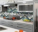 OPALLEY Stickers Carrelage Auto-adhésif Imperméable Géométrique en PVC Design de Carreaux de Ciment Autocollant Mural Décoratif pour Cuisine Salle de Bain -25.4cmx25.4cm(10inchx10inch)
