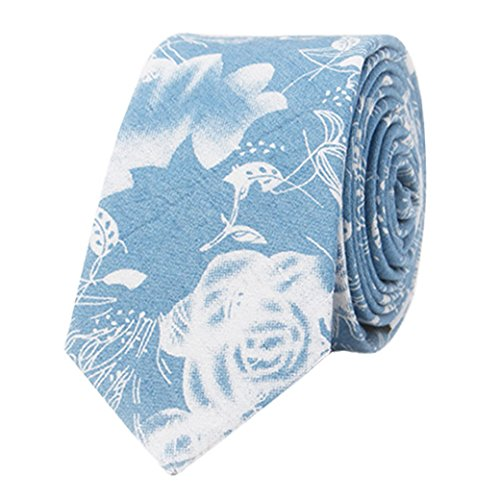 Panegy Moda Hombres Corbata Estrecha de Algodón de Denim Floral 145cm*6cm Vintage Casual Accesorio Necktie - Azul claro