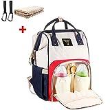 Baby Wickelrucksack mit 2 Kinderwagen-haken und 1 Unterlage, Multifunktionale Wasserdichte Wickeltasche mit große Kapazität und warme Tasche, Babytasche für Reise (rot/blau)