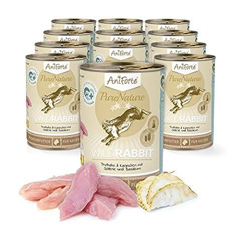 AniForte® PureNature Katzenfutter Wild Rabbit 12 x 400g - Naturprodukt für Katzen (Terra Bio-zucker)