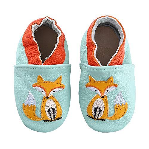 koshine Weiches Leder Krabbelschuhe Baby Schuhe Kinder Lauflernschuhe Hausschuhe 0-3 Jahre (0-6 Monate, Fuchs)