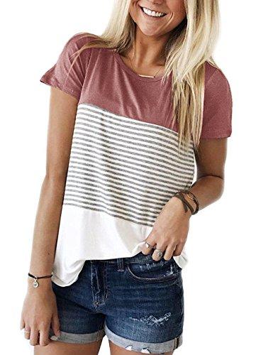 DJT Damen Tops Kurzarm Shirt Streifen T-Shirt Casual Loose Bluse Oberteile  Rot M 11776673ab