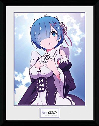 Preisvergleich Produktbild 1art1 106748 Re:Zero Anime Kara Hajimeru Isekai Seikatsu - Rem Clouds Gerahmtes Poster Für Fans Und Sammler 40 x 30 cm