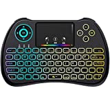 QPAU [Layout Italiano] Mini Tastiera Retroilluminata, 2.4Ghz Mini Tastiera Senza Fili Wireless con Touchpad per PC, Pad, Android/Google TV Box, PS3, Xbox 360, HTPC, IPTV
