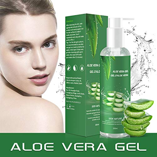 Aloe Vera Gel - 100% Bio für Gesicht Haare Körper,Feuchtigkeitscreme für Sonnenbrand Reparieren,Natürliche Feuchtigkeitspflege Aloe Vera Creme für trockene strapazierte Empfindliche Haut-250MLMEHRWEG (Bio-öl-narben-behandlung)