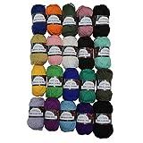Doppelstrick Acryl farbiges Wollgarn vielfältiges Paket 20 x 50g - verschiedene Farben von Kurtzy TM
