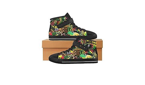 Rasta Black Hi Top Canvas Shoes for Mens/Sticker Bomb High Top Strap Shoes/BOB Marley HJX48oR