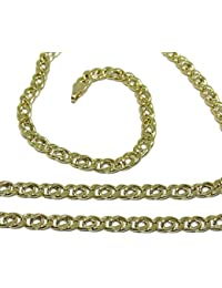 e5618ecca794 Cadena de Oro Amarillo para Hombre de 4mm de Ancha y 60cm de Larga Cierre  mosquetón