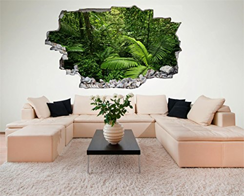 Urwald Dschungel Palmen 3D Look Wandtattoo 70 x 115 cm Wanddurchbruch Wandbild Sticker Aufkleber DesFoli © - Dschungel-palme