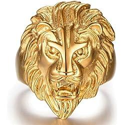Epinki Plaqué Or Bague, Bague pour Hommes Tête de Lion Or Taille 66.5