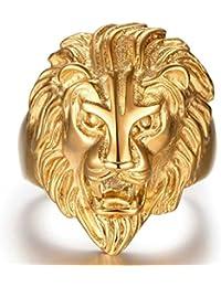Plaqué Or Bague, Bague Pour Hommes Tête de Lion Or Epinki