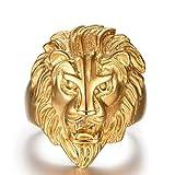 Epinki Plaqué Or Bague, Bague pour Hommes Tête de Lion Or Taille 61.5