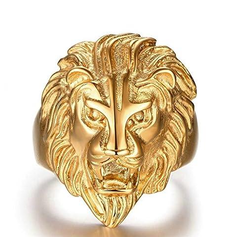 Vergoldet Ringe, Herren Finger Ring Herrenring Löwenkopf Gold Gr.65(20.7)