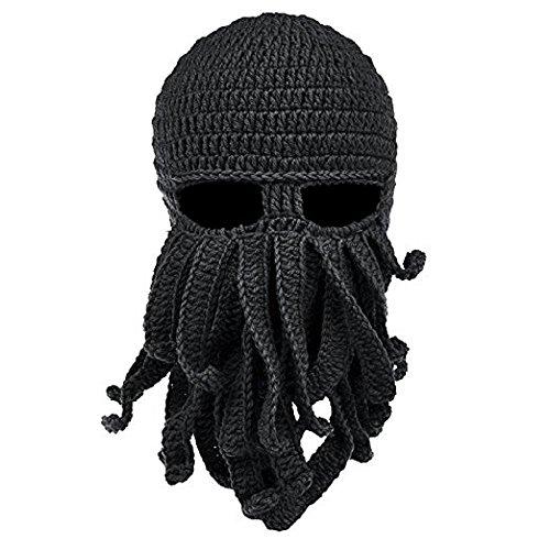 MOONPOP Unisex Handarbeit Lustige Oktopus Strickmütze Bartmütze Stickmütze Häkeln Wollmütze Halloween Maske Gesichtsmaske (Schwarz)