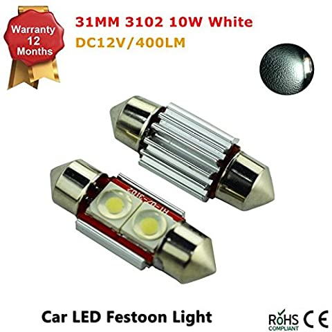 31MM 2-SMD 3602 10W Festoon Dome Map Interior LED Light Bulbs Lamp For Car (Pack of 2 Pcs)