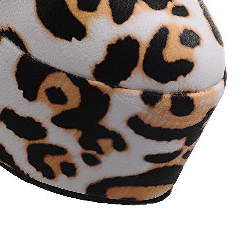 VogueZone009 Femme Pu Cuir Couleurs Mélangées Tire Rond à Talon Haut Chaussures Légeres Jaune