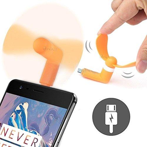 ONX3® (ORANGE) LG COOKIE 3G Mobile Handy-bewegliche Taschen-Sized Fan-Zusatz für Android Micro USB-Anschluss Smartphone (3g-handy Mobile Lg)