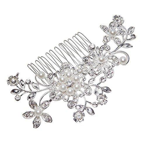 Flyyfree Wedding Flower Diamante Crystal Rhinestones Pearls Hair Clip Comb