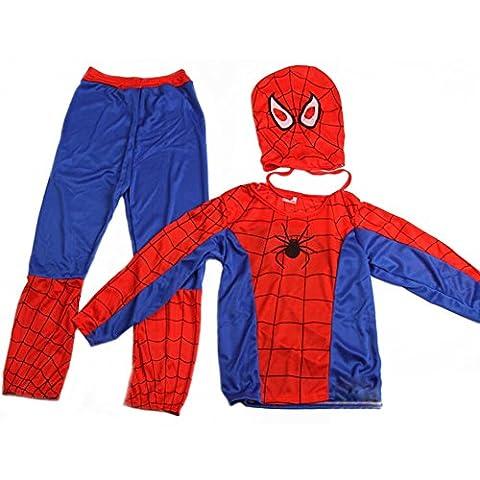 De feuilles Kinder Spiderman Kostüm Maske Overall Marvel Verkleidung für Halloween Weihnachten Fasching Cosplay Karneval Kostüm Kleidung