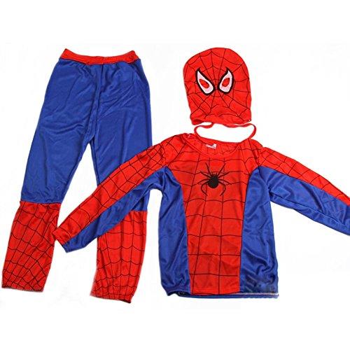 De feuilles Kinder Spiderman Kostüm Maske Overall Marvel Verkleidung für Halloween Weihnachten Fasching Cosplay Karneval Kostüm Kleidung (Spiderman Kostüme)