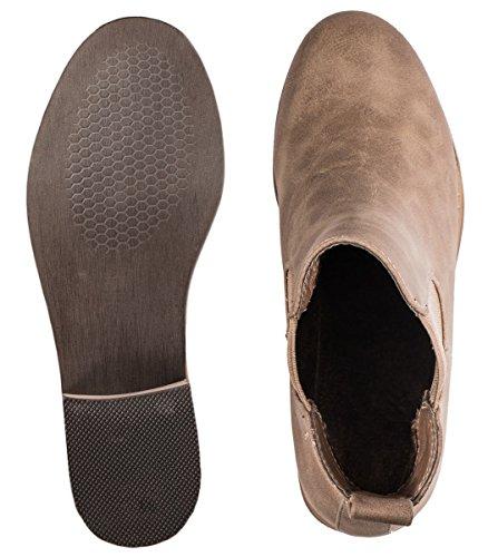 Elara Damen Chelsea Boots | Bequeme Damen Stiefelette Blockabsatz | Lederoptik Khaki