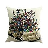 LONUPAZZ Housse de Coussin Papillon Peinture Lin Housse de Coussin Throw Taille Taie d'oreiller Canapé Décor À La Maison 45cm*45cm