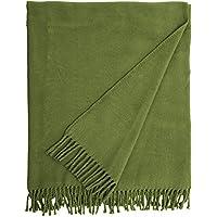 Euromant Basics Plain Manta, Algodón, Verde Musgo, Individual, 140 x 180 x 5 cm