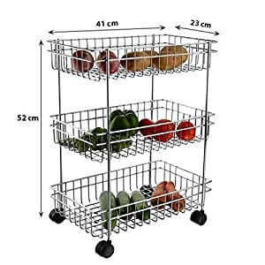 AMAZING MALL (LABEL) Stainless Steel Multipurpose Storage/Shelf, Kitchen Rack Triple Perforated Trolley, Silver