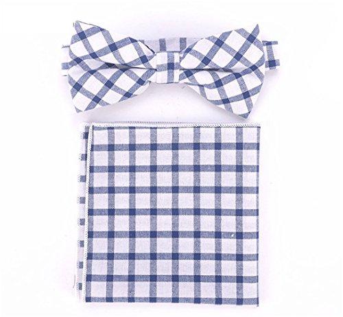 SKNSM hidalgo Juego de pañuelos de cuadros escoceses para hombre Juego de pañuelos de pajarita diario de tartán para hombres para conjuntos de Tie (Color : White, tamaño : Talla única)