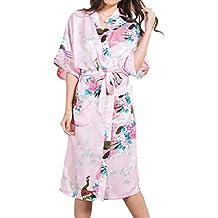 Yying Women Silk Satin Dressing Gown Long Kimono Peacock Blossoms Bride Bridesmaid Kimonos Nightwear Robes