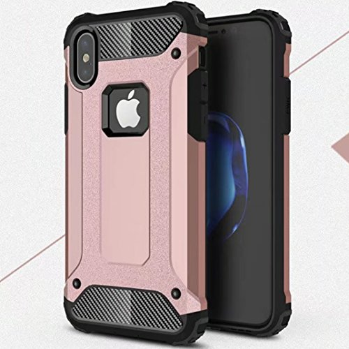 iPhone X Shell, Super Cool Shield UltraSlim Premium Dual Layer Hybrid Shockproof Armour Custodia, TAITOU New Awesome Outdoor Sport Anti Scratch Armor Protection Phone Cover For Apple iPhone X Blue BRoseGold