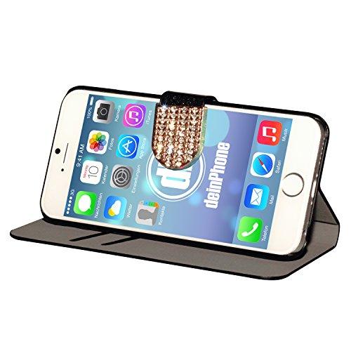 "deinPhone Apple iPhone 6 6S Plus (5.5"") KUNSTLEDER FLIP CASE Hülle Tasche Eulen Happy Family Schwarz"