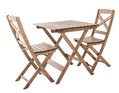 Ambientehome Ensemble de mobilier de Jardin ou de Balcon 1 Table & 2 chaises Pliantes Lotta - Bois: pin Massif, Marron 65x65x70 cm