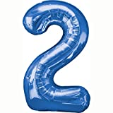 Amscan Folienballon Große Zahl 2 blau, 53x88 cm