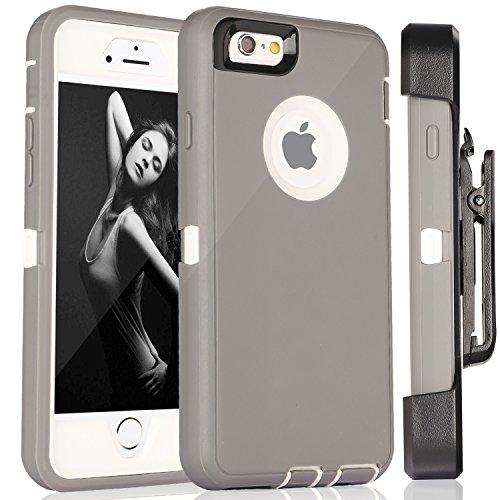 iPhone 6S Plus Fall & # xff1a; fogeek Premium Qualität 4Schicht integrierter Displayschutzfolie, staubdicht und stoßfest mit Gürtelclip Holster und ausklappbarem Ständer für iPhone 6Plus/iPhone 6S  Gray/White