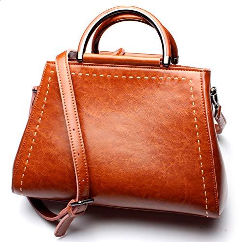 Designer-Öl (HWUDFSLG Neue Ankunft Luxus Handtaschen Frauen Taschen Designer Öl Wachs Echtes Leder Tote Damen Umhängetasche Lässig Messenger Bags Braun)