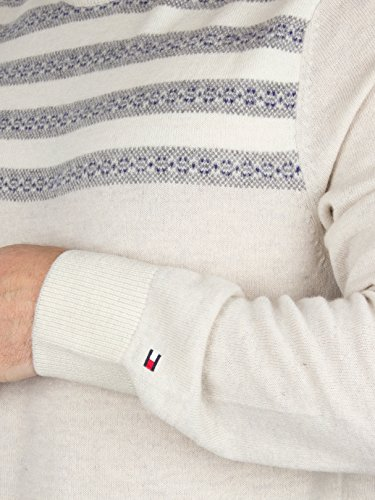 Tommy Hilfiger Herren Roderick Gestreifte Knit, Weiß Weiß