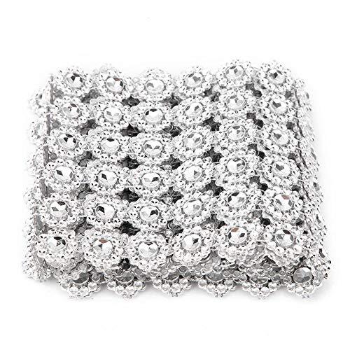 HEEPDD 6-Row Plastic Mesh Strass Chain Trim, Sonnenblumenform DIY Sewing Craft Crystal Bling Trim Applique für Kleidung Kleid Zubehör Hochzeitstorte Kerze Dekor -