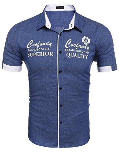 36abb4d7e5109 Burlady Herren Kurzarmhemd aus Baumwolle mit unterschiedlichen Aufdrucken  Slim-fit Form lässiges Hemd