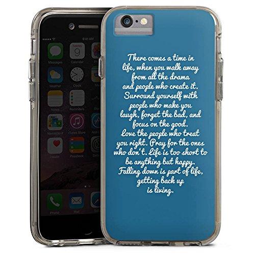 Apple iPhone 7 Bumper Hülle Bumper Case Glitzer Hülle Phrases Sprüche Sayings Bumper Case transparent grau