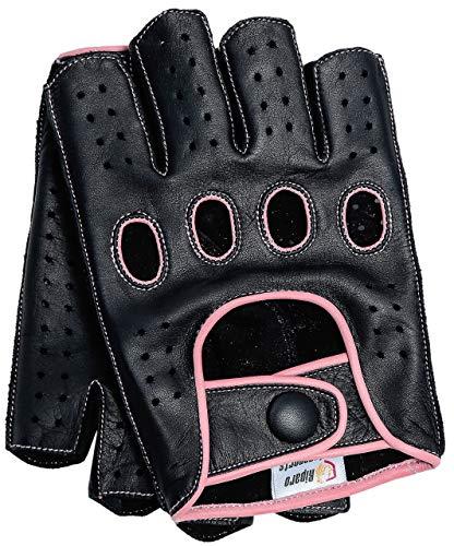 Riparo guanti da moto senza dita, senza dita, in vera pelle con cuciture rovesciate per donna 7.5 rosa nero