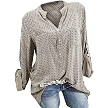 ba5ae8615e5146 TianWlio Langarm Bluse Damen Frauen Mode Lässige Mode V-Ausschnitt Plus  Size Print Langarm Knopf