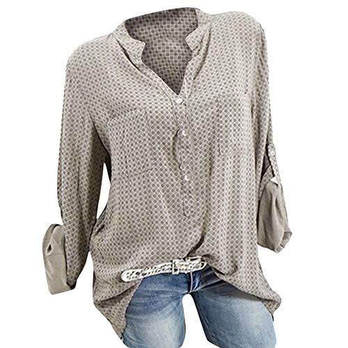 TianWlio Langarm Bluse Damen Frauen Mode Lässige Mode V-Ausschnitt Plus Size Print Langarm Knopf Taschen Shirt Top ()
