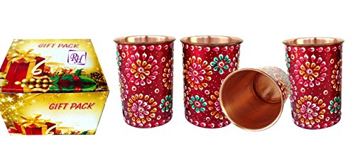 Rastogi bricolage en cuivre pur gobelets Verre peinte à la main Art travail extérieur côté Rouge (4)