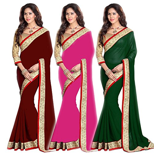 Pink Bird Women's Coffice Green And Pink Georgette Beautiful Traditional Partywear Saree Sari Pack Of Combo (FB-12018(CO),FB-12018(G)A,FB-12018(P))  available at amazon for Rs.1399