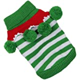 EOZY Cute Soft Knitted Cotton Dog Puppy Cat Jumper Turtleneck Sweater Green&White Striped Balls Pet Costume Clothes Apparel Body Warmer Christmas 4