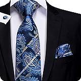 Hi-Tie Paisley corbata pañuelo gemelos Jacquard tejido de seda corbata Azul azul