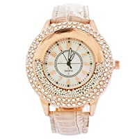 Souarts Womens Bright Brown Color Band Quicksand Beads Rhinestone Dial Quartz Analog Wrist Watch 25cm