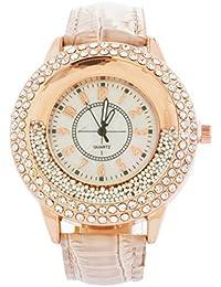 Souarts Damen Schmetterling Kunstleder Treibsand Armbanduhr mit Strass Quartzuhr Analog mit Batterie (Beige)
