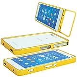 Sony Xperia Z3 Compact Alu Rahmen Gold Gelb inkl. Panzerglas für die Vorderseite Aluminium Case Metall Cover Schutz Hülle Schieben Bumper Tasche Sturz CNC Yellow